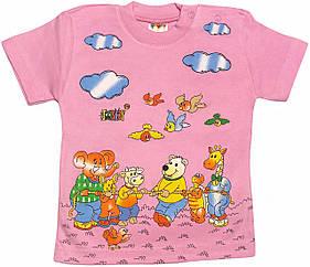 Дитяча футболка на дівчинку ріст 92 1,5-2 роки для малюків з принтом красива літня бавовна трикотаж рожева