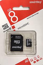 Карта памяти Smartbuy micro SDHC 8 GB Class 10 +адаптер