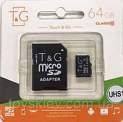 Карта памяти T&G micro SDHC 64 GB Class 10 +адаптер