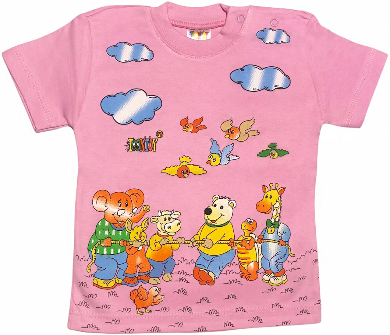 Детская футболка на девочку рост 98 2-3 года для малышей с принтом красивая летняя хлопок трикотажная розовая