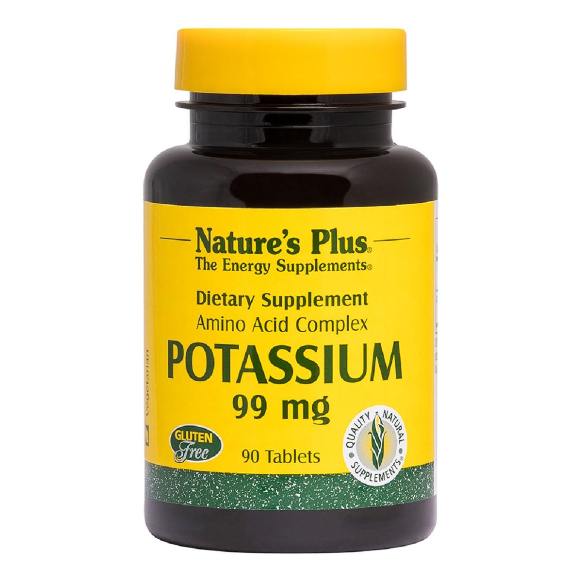 Калий, Potassium, Nature's Plus, 99 мг, 90 таблеток