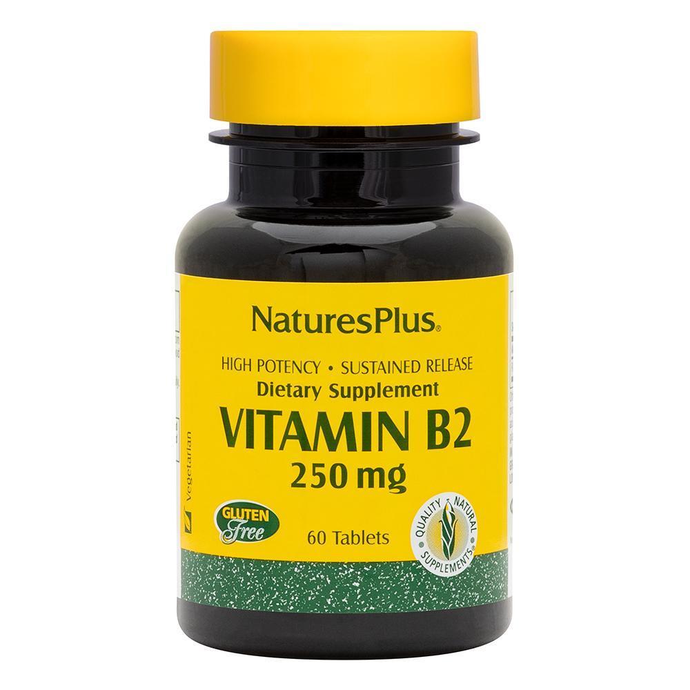Рибофлавин, Витамин B-2, Natures Plus, 250 Мг, 60 Таблеток