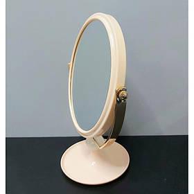 Зеркало косметическое двустороннее для макияжа на подставке Mirror 714