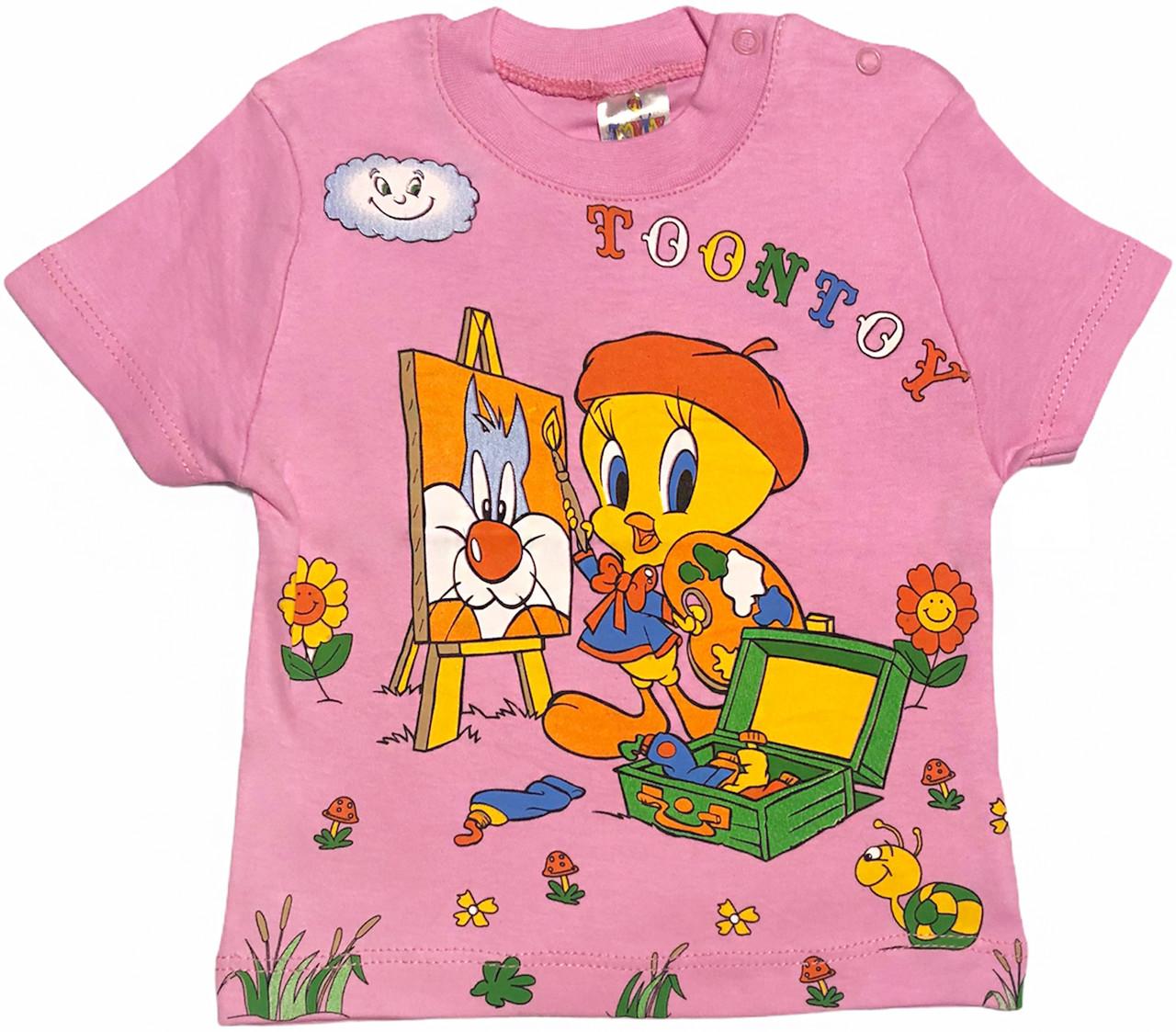 Детская футболка на девочку рост 86 1-1,5 года для новорожденных малышей с принтом красивая трикотаж розовая