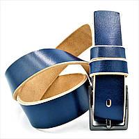 Мужской кожаный ремень синий Мужской ремень для штанов и джинсов Кожаный мужской ремень с классической пряжкой