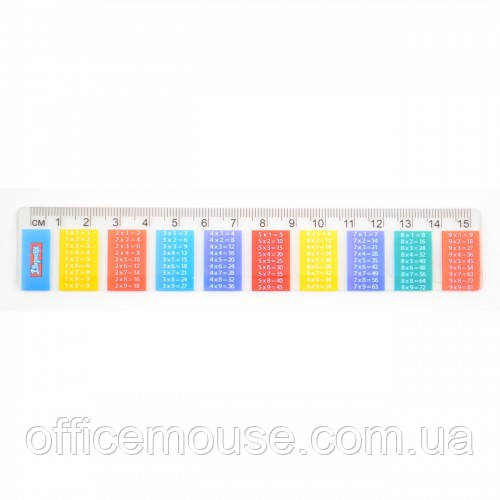 Лінійка 15 см 1Вересня 370464 пластикова Таблиця множення 100шт/уп