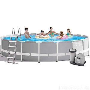 Каркасный бассейн Intex 26756 New, 610 х 132 см (5 678 л/ч, лестница, тент, подстилка), (Оригинал)