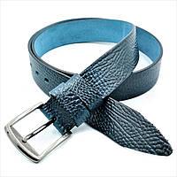 Ремень мужской кожаный синий Мужской ремень для штанов и джинсов Кожаный мужской ремень с классической пряжкой