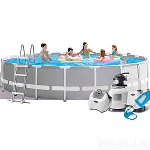 Каркасный бассейн Intex 26756 - 16 New, 610 х 132 см (150 мл/11 г/ч, 10 000 л/ч, набор, лестница, тент,