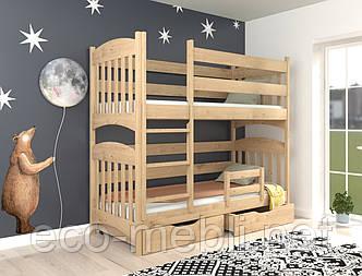 Ліжко дитяче двохярусне Меліса  з натурального дерева  (бук) Луна