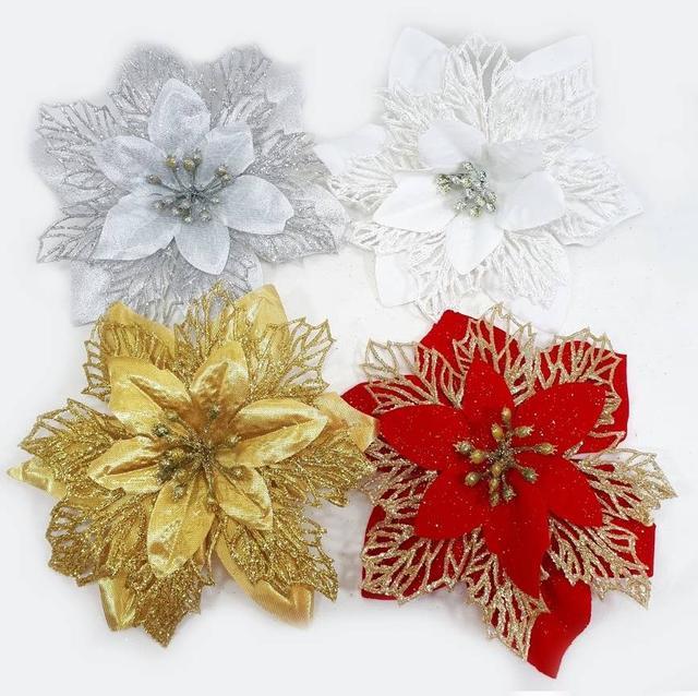 Новогодний цветок пуансетия, цветы на елку