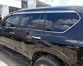 Дефлектры окон, ветровики хромированные Toyota Land Cruiser Prado 150 2009-2021 (Autoclover D665)