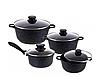 Набір посуду Edenberg EB-9180 8 предметів Чорний каструлі ківш мармурове покриття