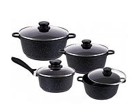 Набір посуду Edenberg EB-9180 8 предметів Чорний каструлі ківш мармурове покриття, фото 1
