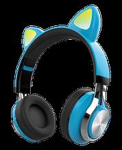Наушники со светящимися ушками беспроводные Bluetooth HAVIT H623BT синие