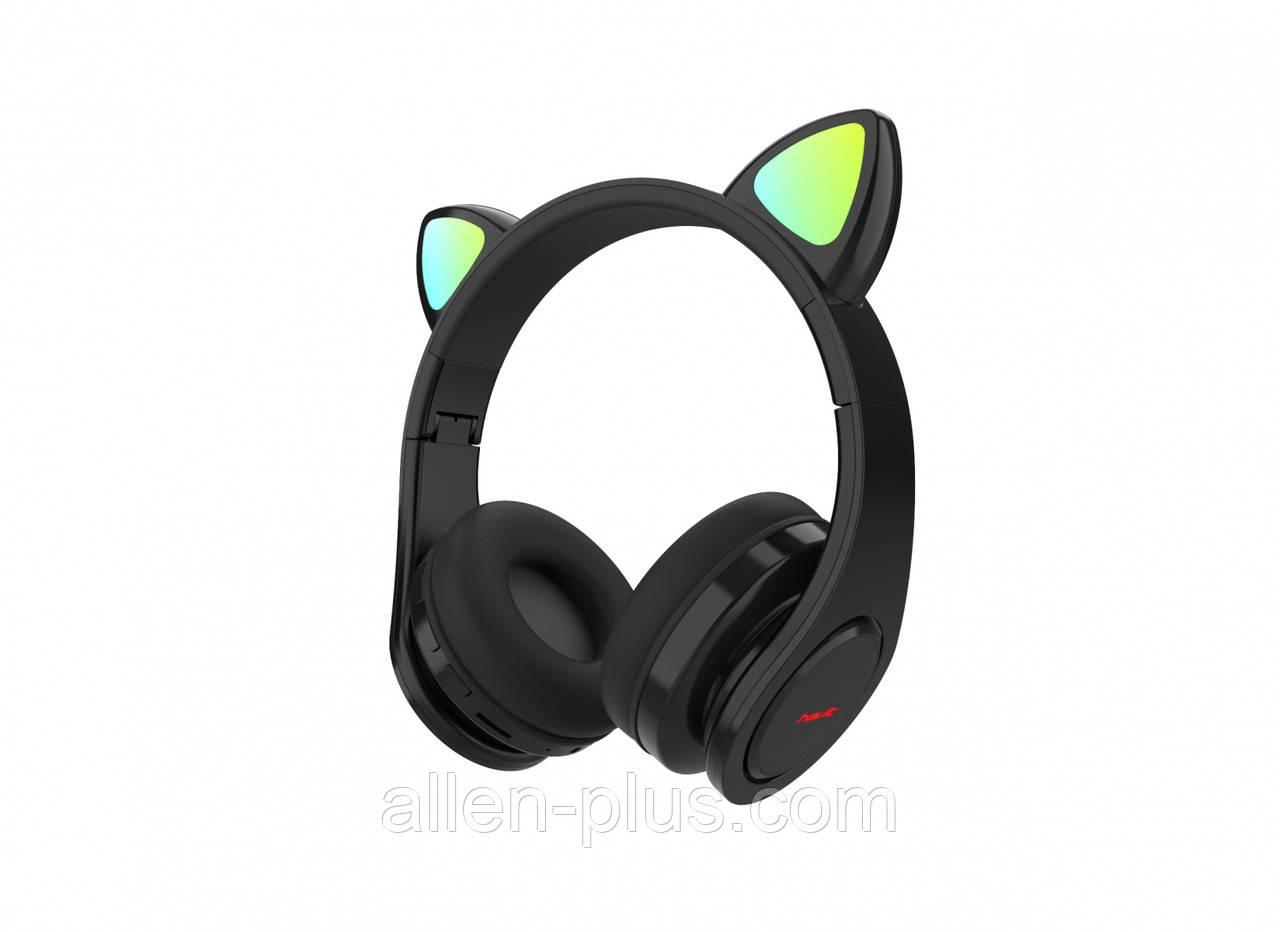 Наушники со светящимися ушками беспроводные Bluetooth HAVIT H624BT черные