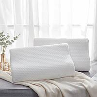 Ортопедическая подушка Memory pillow белый, с эффектом анатомическая памяти, прямоугольная, ортопедическая