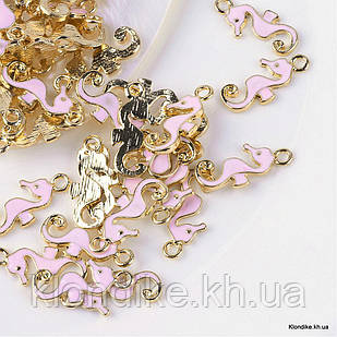 Кулон Морской Конек, Сплав, Эмалированный, 22.5x10x2мм, Цвет: Розовый (5 шт)