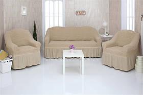 Чехол на диван и два кресла с оборкой, натяжной, жатка-креш, универсальный Concordia Ванильный