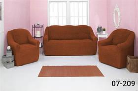 Чехол на диван и два кресла без оборки, натяжной, жатка-креш, универсальный Concordia Кирпичный
