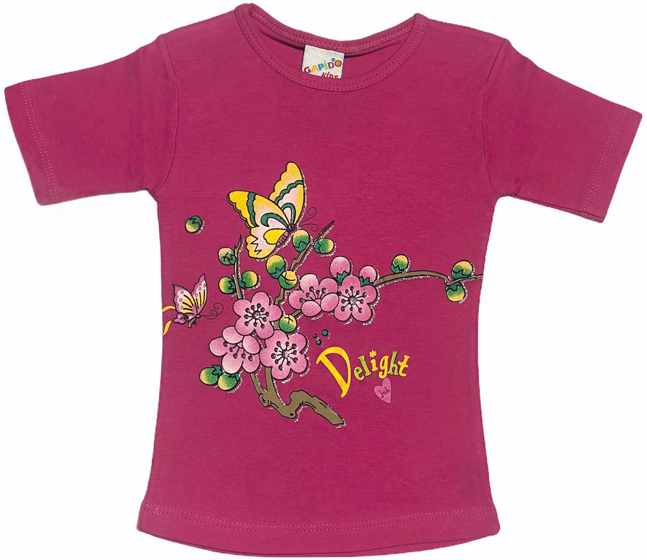 Детская футболка на девочку рост 110 4-5 лет для детей с принтом яркая красивая летняя трикотажная малиновая