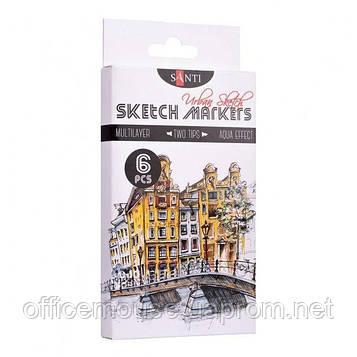 Набір маркерів, 6 шт, Santi sketch Urban Sketch, Санті (Santi)