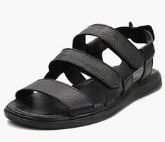 Кожаные мужские сандалии с липучками черного цвета