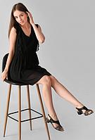 Кожаные женские босоножки на маленьком каблуке