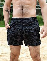 Мужские пляжные шорты для плавания быстросохнущие Серый Камуфляж из плащевки с подкладкой на лето
