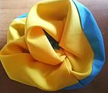 Резинка для волосся тканина,  оксамитова  Резинка на хвост на гульку  для волос бант кранч желто голубая, фото 2