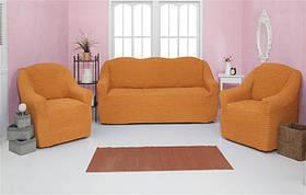 Чехол на диван и два кресла без оборки, натяжной, жатка-креш, универсальный Concordia Оранжевый
