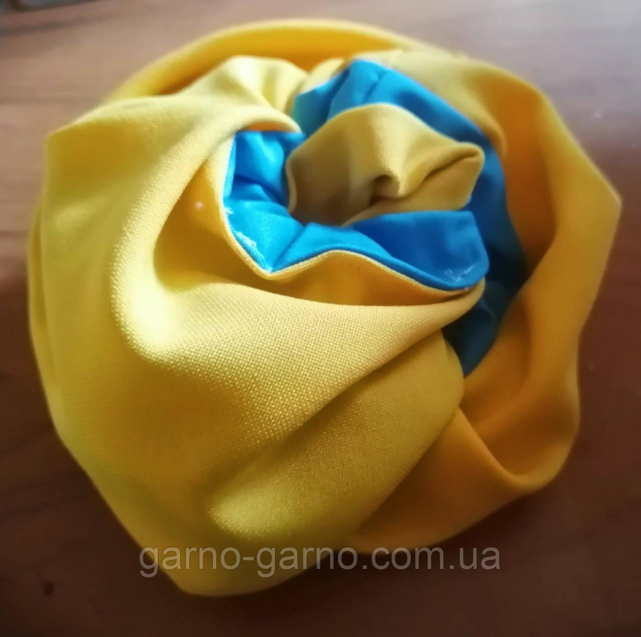 Резинка для волосся тканина,  оксамитова  Резинка на хвост на гульку  для волос бант кранч желто голубая