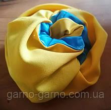 Гумка для волосся тканина, оксамитна Гумка на хвіст на гульку для волосся бант кранч жовто-блакитна