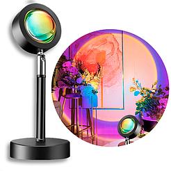 Проекционная лампа SUNSET Tik-tok q07 Lamp с эффектом заката, 4 цвета, наклон 180 градусов, от USB