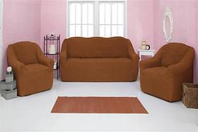 Чехол на диван и два кресла без оборки, натяжной, жатка-креш, универсальный Concordia Горчичный