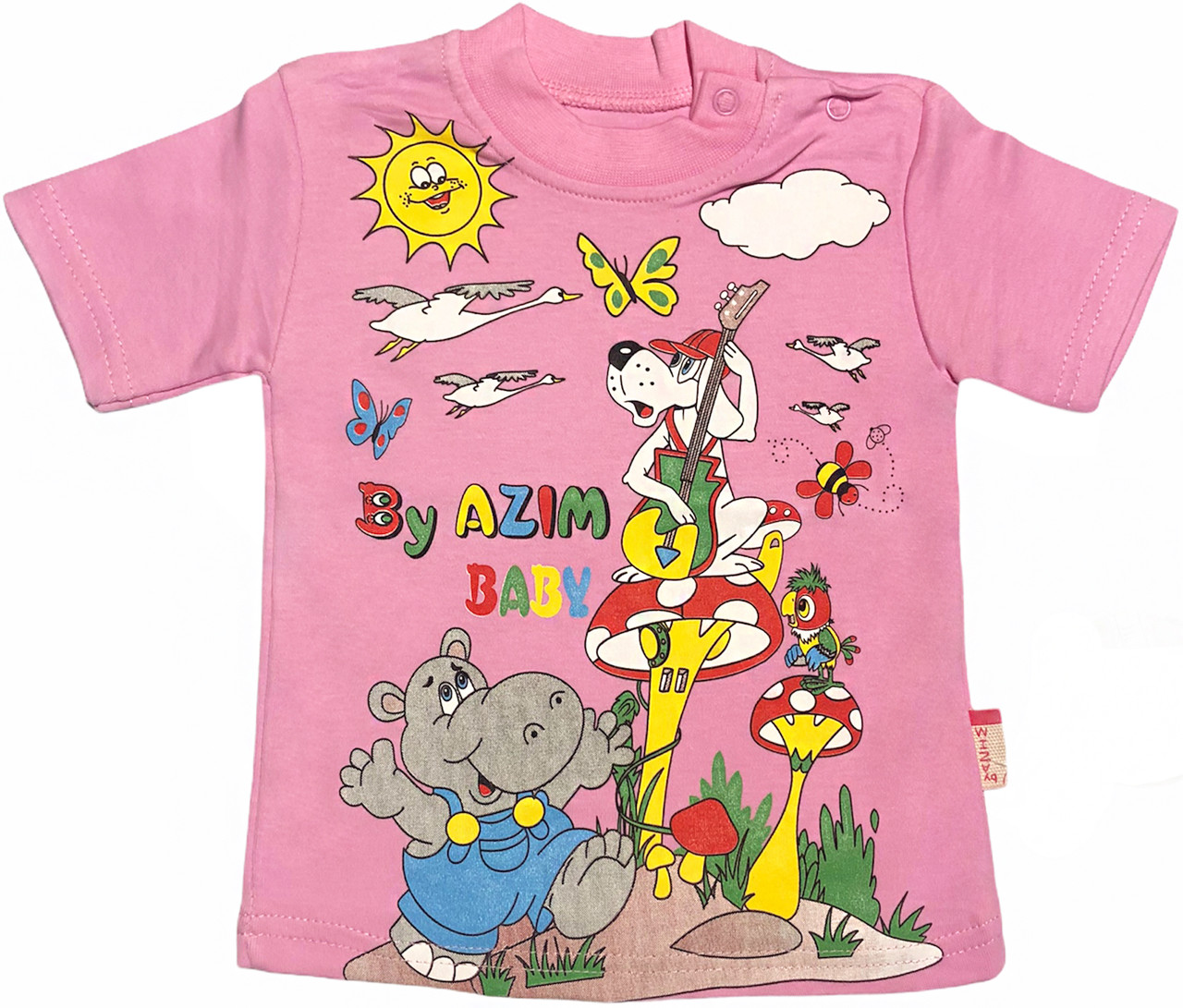 Детская футболка на девочку рост 98 2-3 года для малышей с принтом красивая летняя хлопок трикотаж розовая