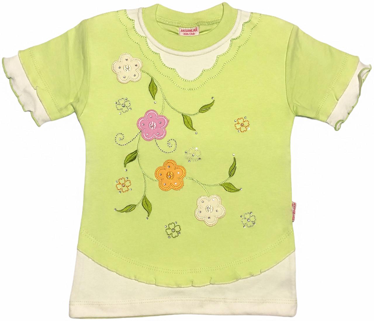 Детская футболка на девочку рост 110 4-5 лет для детей красивая стильная нарядная летняя трикотажная салатовая