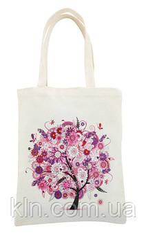Сумка для покупок з алмазної вишивкою Рожеве дерево тканинна (арт. FT004)