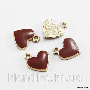 Кулон Сердце, Сплав, Эмалированный, 12x11x1.5мм, Цвет: Темно-Красный (5 шт)