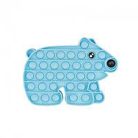 Антистресс - игрушка Pop It Голубой Медведь Поп Ит бесконечная пупырка