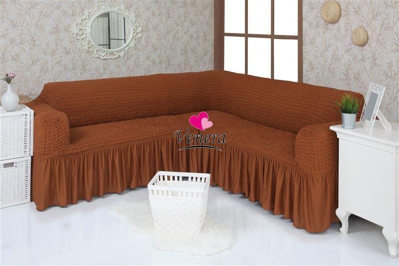 Чехол на угловой диван  с оборкой, натяжной, жатка-креш, универсальный, Concordia Кирпичный