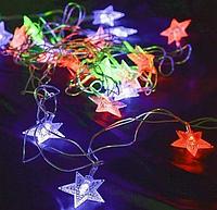 Гирлянда Звезды 20LED 5718 разноцветная на батарейках | Новогодняя светодиодная бахрома звездочки мультиколор