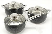 Набор посуды Styleberg WK-2187 (6 пр.) с мраморным покрытием   Кастрюли с сотейником+крышки