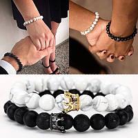 Парные браслеты с натурального камня с короной, браслеты для влюбленных пар, бижутерия