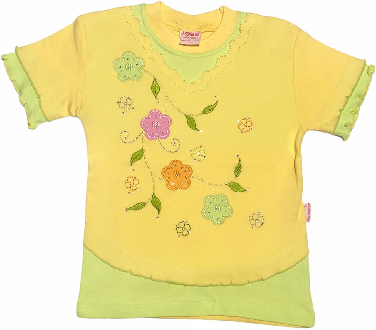 Детская футболка на девочку рост 122 6-7 лет для детей красивая стильная нарядная летняя трикотажная жёлтая