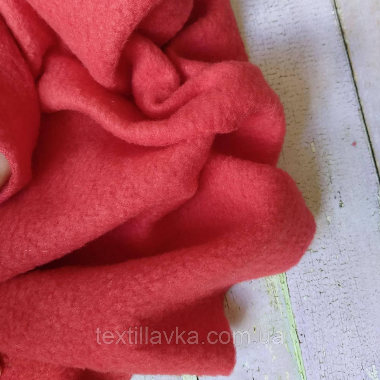 Ткань флис красный , размер 50см/36см