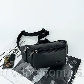 Мужская кожаная поясная сумка бананка на пояс и через плечо H.T. Leather черная