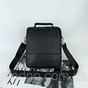 Мужская кожаная сумка на и через плечо на два отделения H.T. Leather черная