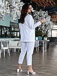Деловой женский брючный костюм батал с пиджаком свободного кроя (р. 48-62)., фото 2