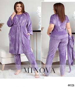 Комплект велюровий: піжама і халат у великому розмірі Розміри: 50-52, 54-56, 58-60, 62-64, 66-68 графіт